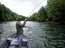 Bob Voelker fishing for brown trout in Little Red River, Arkansas